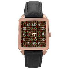 Asian Ornate Patchwork Pattern Rose Gold Leather Watch