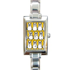 Yellow Owl Background Rectangle Italian Charm Watch