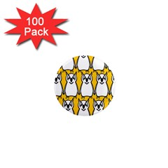 Yellow Owl Background 1  Mini Magnets (100 Pack)