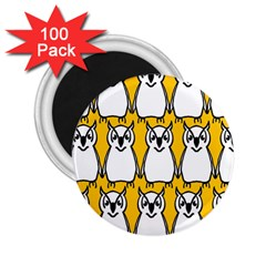 Yellow Owl Background 2.25  Magnets (100 pack)