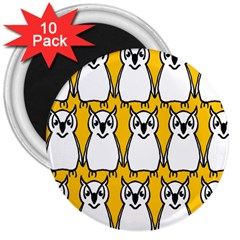 Yellow Owl Background 3  Magnets (10 pack)