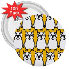 Yellow Owl Background 3  Buttons (100 Pack)