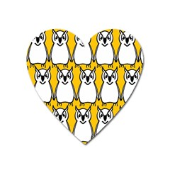 Yellow Owl Background Heart Magnet