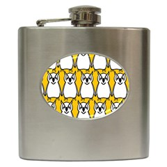 Yellow Owl Background Hip Flask (6 Oz)