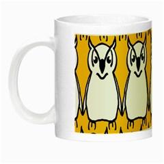 Yellow Owl Background Night Luminous Mugs