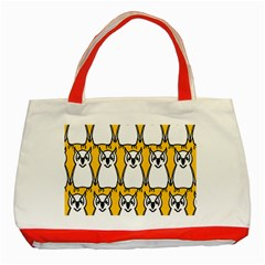 Yellow Owl Background Classic Tote Bag (red)
