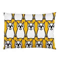 Yellow Owl Background Pillow Case