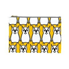 Yellow Owl Background Cosmetic Bag (Large)