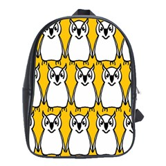 Yellow Owl Background School Bags(Large)