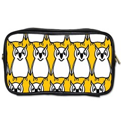 Yellow Owl Background Toiletries Bags 2-Side