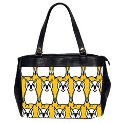Yellow Owl Background Office Handbags (2 Sides)