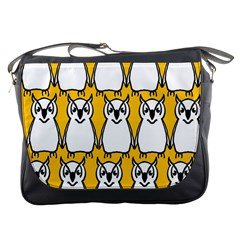 Yellow Owl Background Messenger Bags