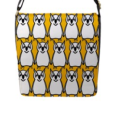 Yellow Owl Background Flap Messenger Bag (L)