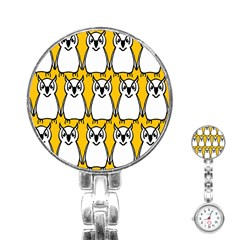 Yellow Owl Background Stainless Steel Nurses Watch