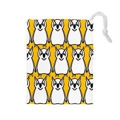 Yellow Owl Background Drawstring Pouches (Large)