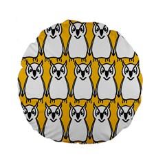 Yellow Owl Background Standard 15  Premium Flano Round Cushions