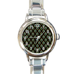 Peacock Inspired Background Round Italian Charm Watch