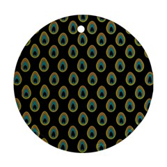 Peacock Inspired Background Ornament (Round)