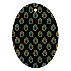 Peacock Inspired Background Ornament (oval)