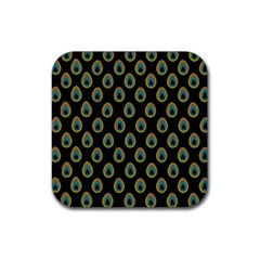 Peacock Inspired Background Rubber Square Coaster (4 Pack)