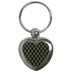 Peacock Inspired Background Key Chains (heart)