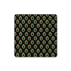 Peacock Inspired Background Square Magnet