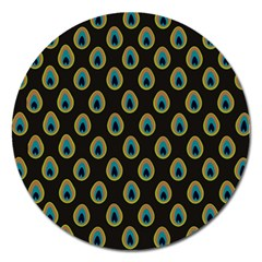 Peacock Inspired Background Magnet 5  (Round)