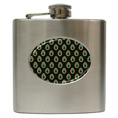 Peacock Inspired Background Hip Flask (6 Oz)