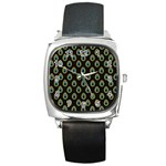 Peacock Inspired Background Square Metal Watch Front