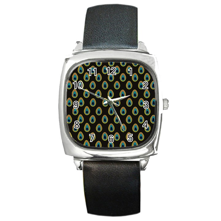 Peacock Inspired Background Square Metal Watch