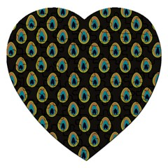Peacock Inspired Background Jigsaw Puzzle (heart)
