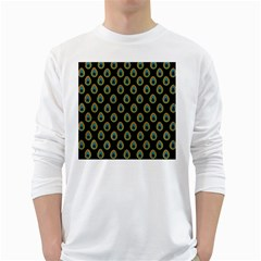 Peacock Inspired Background White Long Sleeve T Shirts
