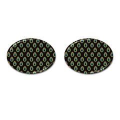 Peacock Inspired Background Cufflinks (Oval)