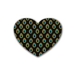 Peacock Inspired Background Rubber Coaster (heart)