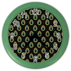 Peacock Inspired Background Color Wall Clocks