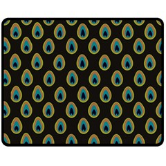 Peacock Inspired Background Fleece Blanket (medium)