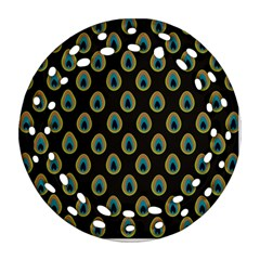 Peacock Inspired Background Ornament (Round Filigree)