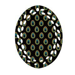 Peacock Inspired Background Oval Filigree Ornament (two Sides)