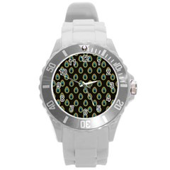 Peacock Inspired Background Round Plastic Sport Watch (L)