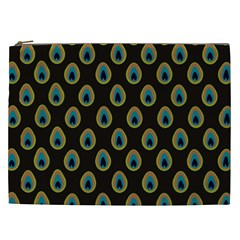 Peacock Inspired Background Cosmetic Bag (XXL)