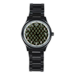 Peacock Inspired Background Stainless Steel Round Watch