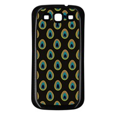 Peacock Inspired Background Samsung Galaxy S3 Back Case (Black)