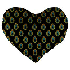 Peacock Inspired Background Large 19  Premium Flano Heart Shape Cushions