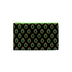 Peacock Inspired Background Cosmetic Bag (xs)