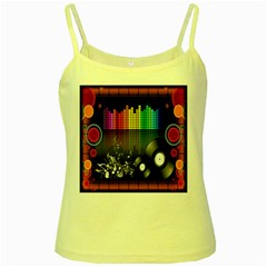 Music Pattern Yellow Spaghetti Tank
