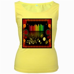 Music Pattern Women s Yellow Tank Top