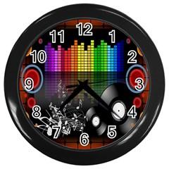 Music Pattern Wall Clocks (Black)