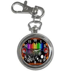 Music Pattern Key Chain Watches