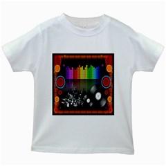 Music Pattern Kids White T Shirts