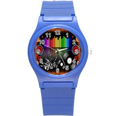 Music Pattern Round Plastic Sport Watch (S)